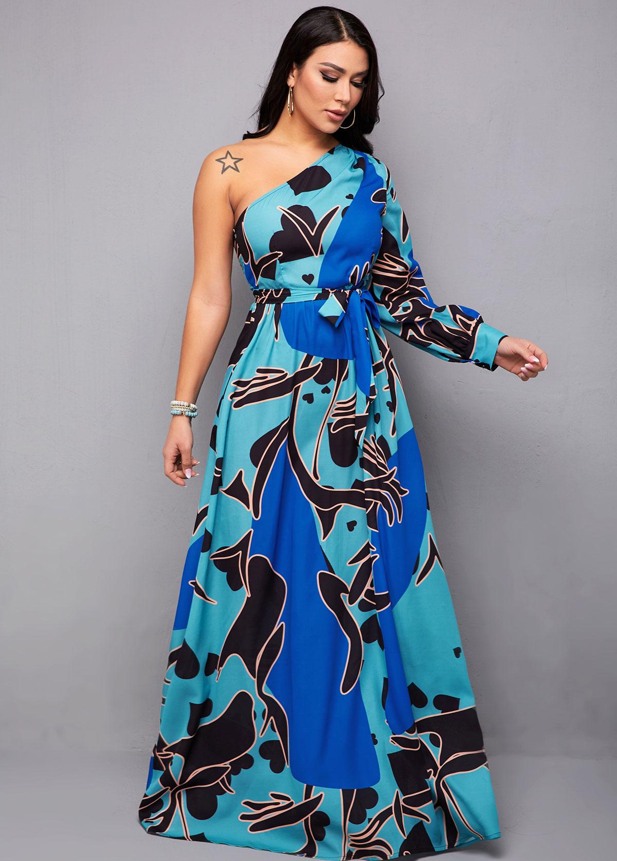 ROTITA Blue Skew Neck One Shoulder Belted Maxi Dress