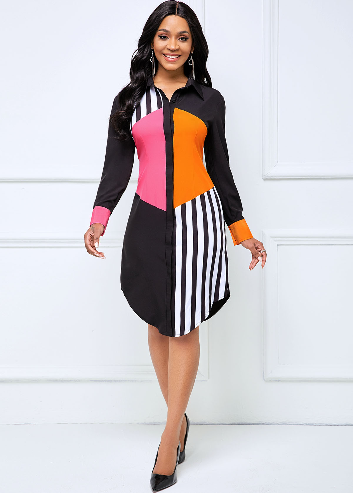 ROTITA Contrast Striped Button Up Long Sleeve Dress