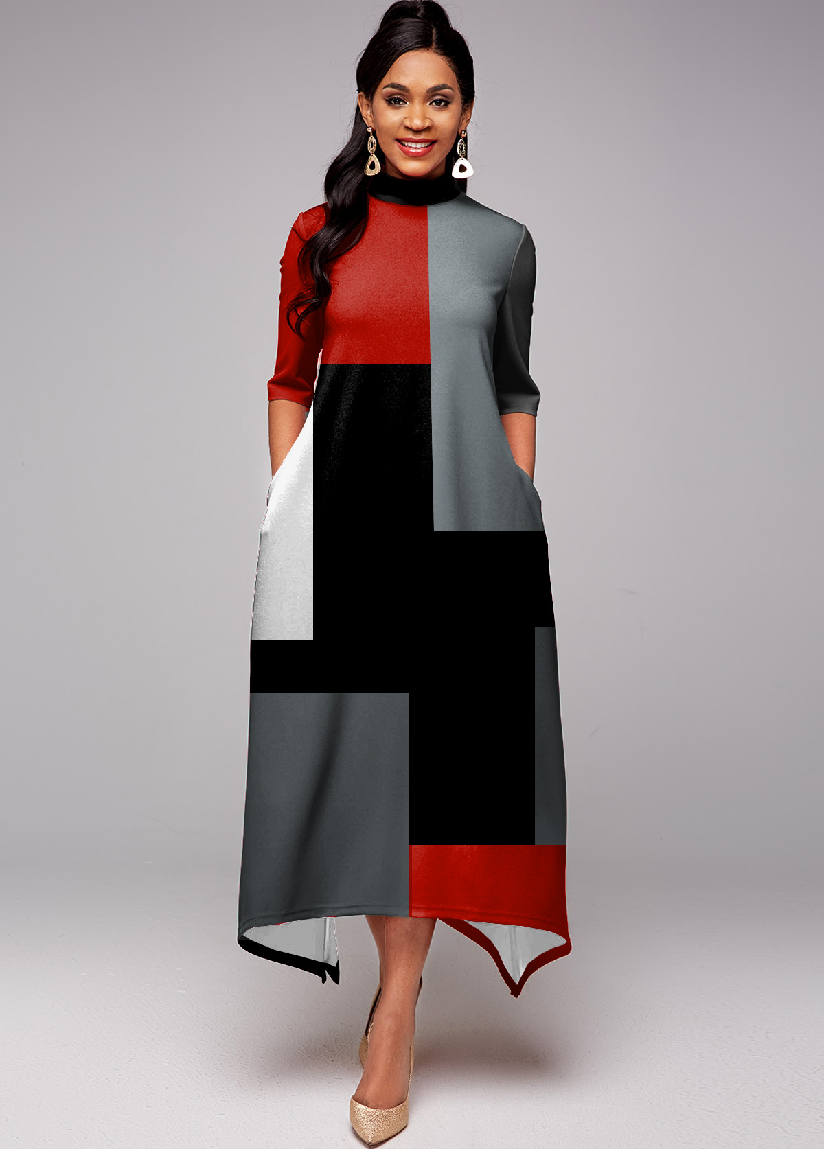 ROTITA Pocket Half Sleeve Contrast Maxi Dress