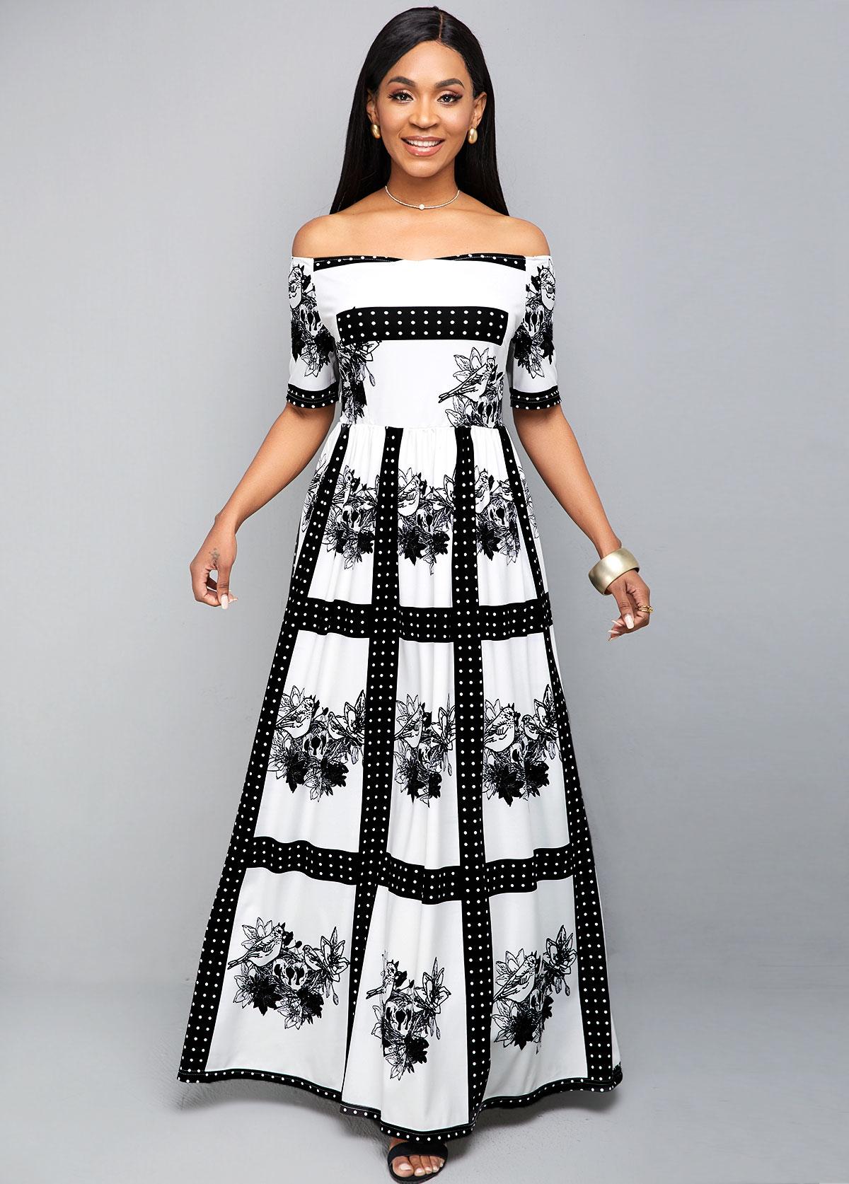 ROTITA Off Shoulder Tribal Print Maxi Dress