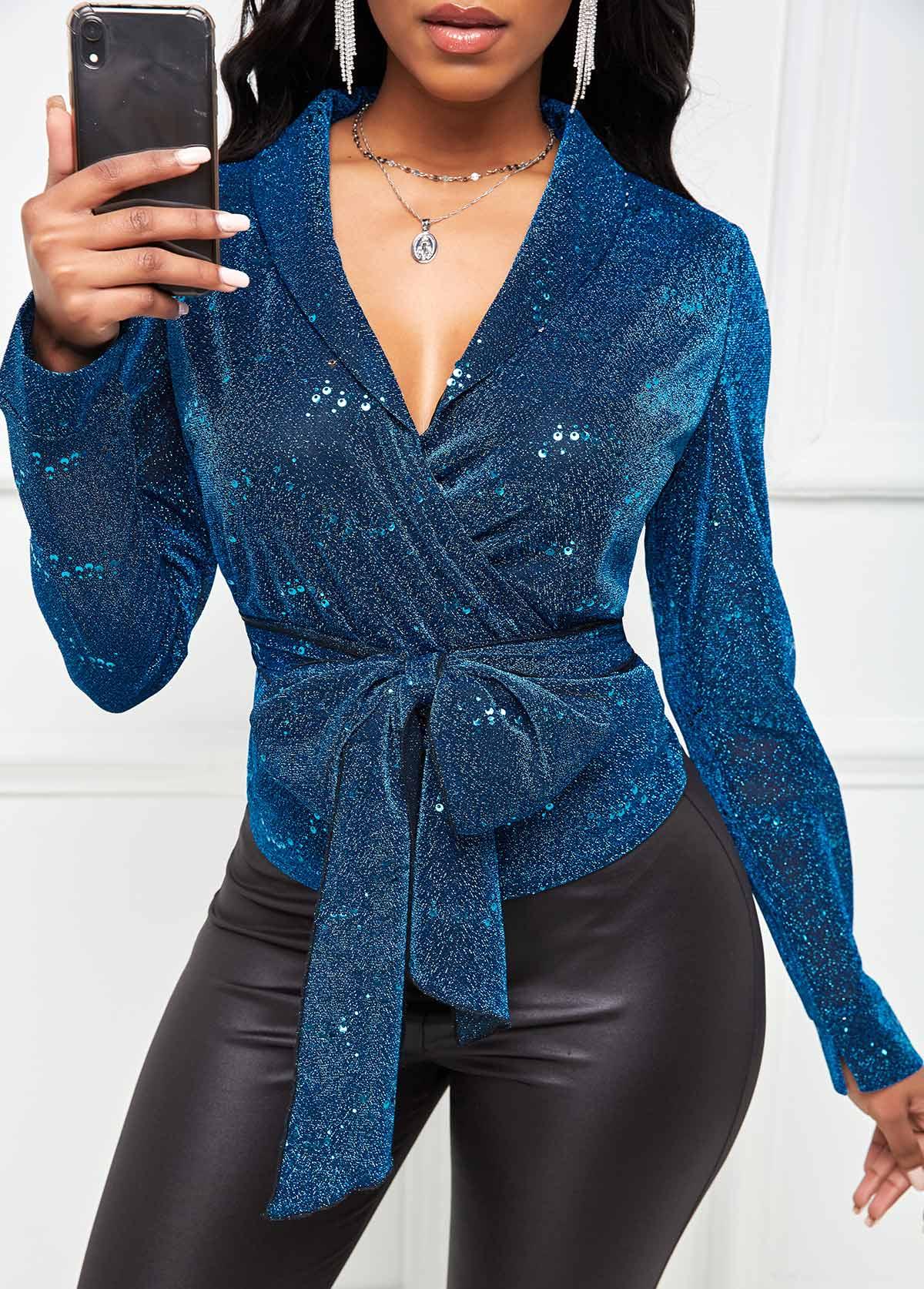 ROTITA Long Sleeve Bowknot Detail Shining Blazer