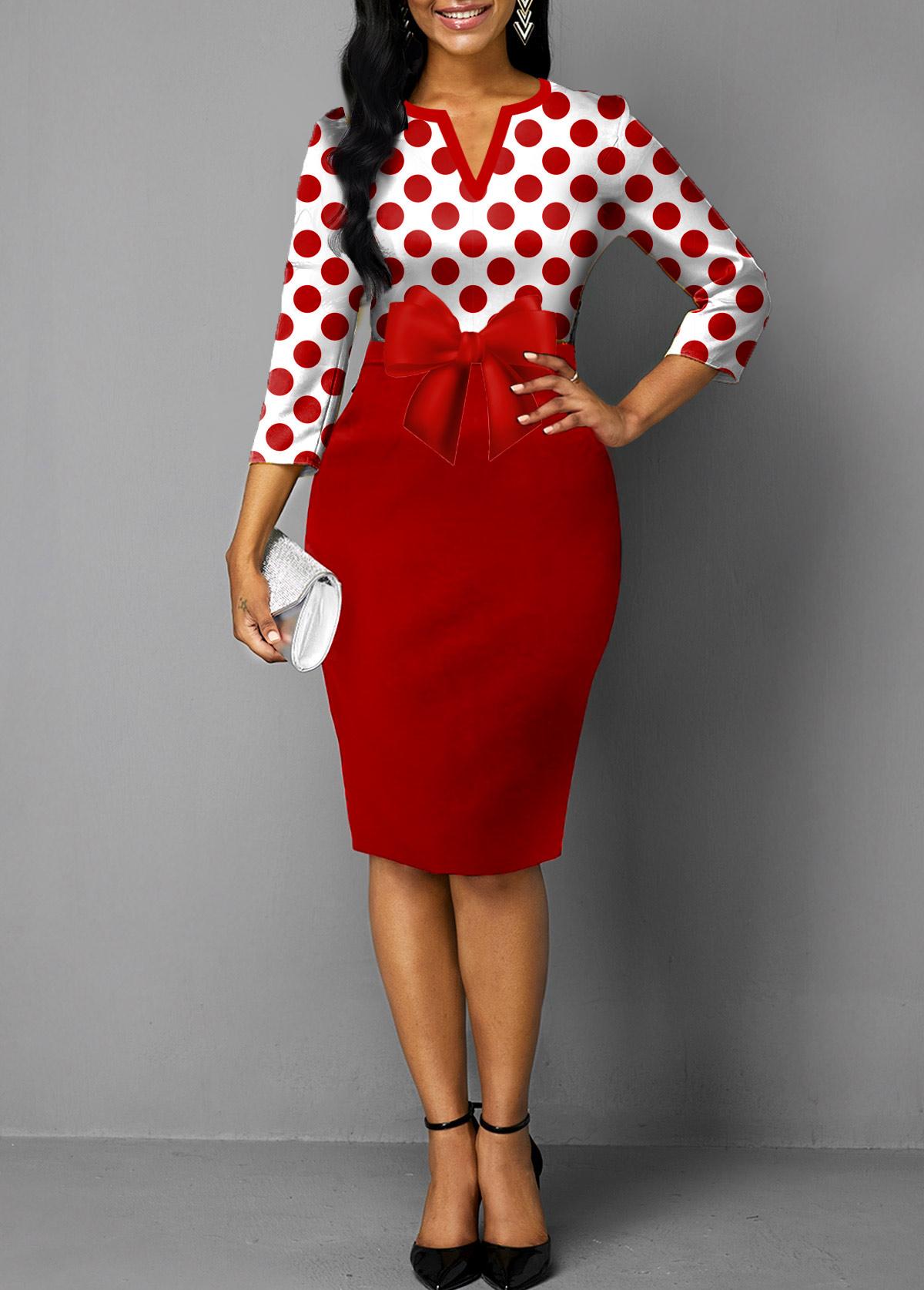 ROTITA Split Neck Red Polka Dot Bowknot Dress