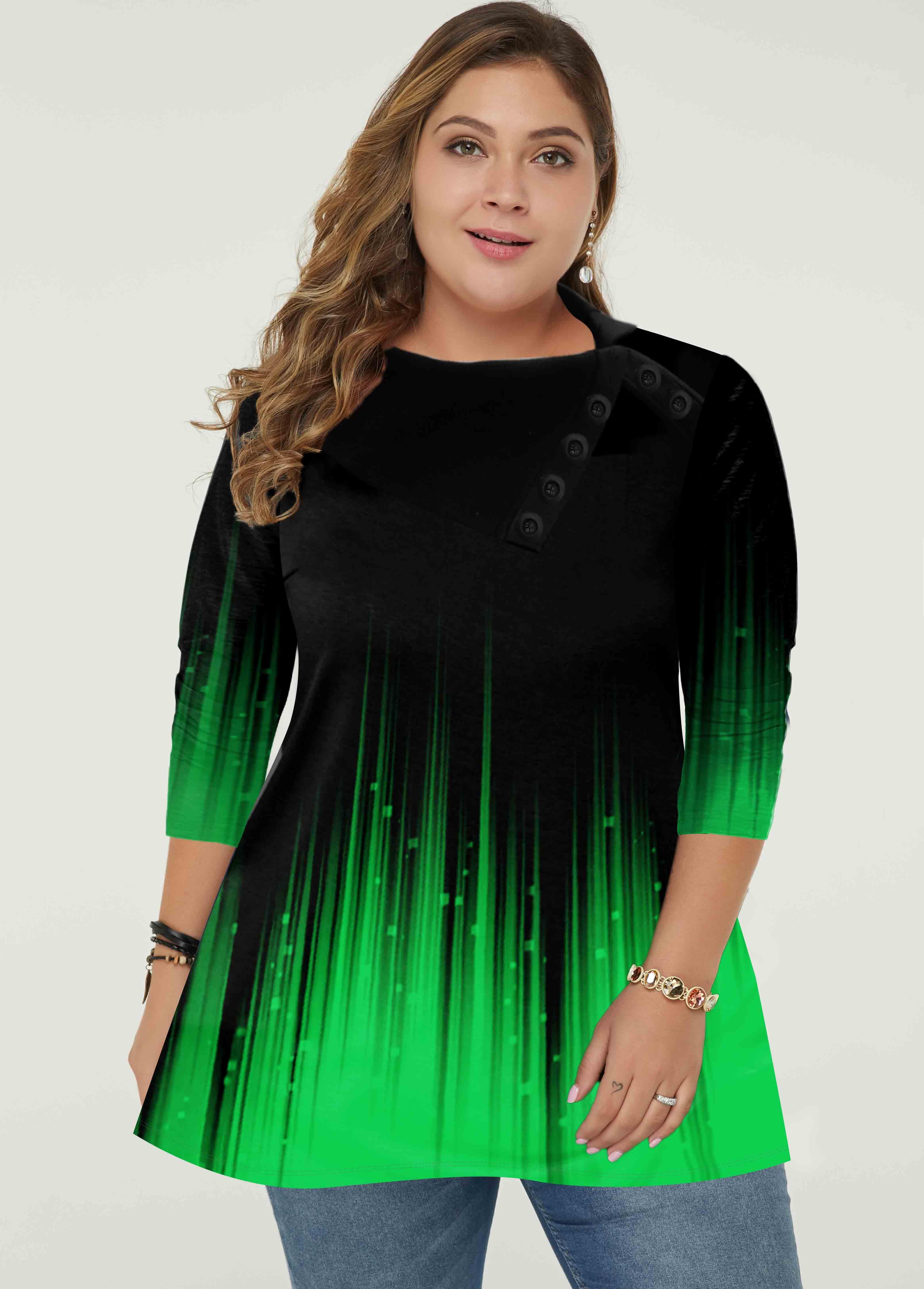 ROTITA Gradient Plus Size Green Long Sleeve Tunic Top