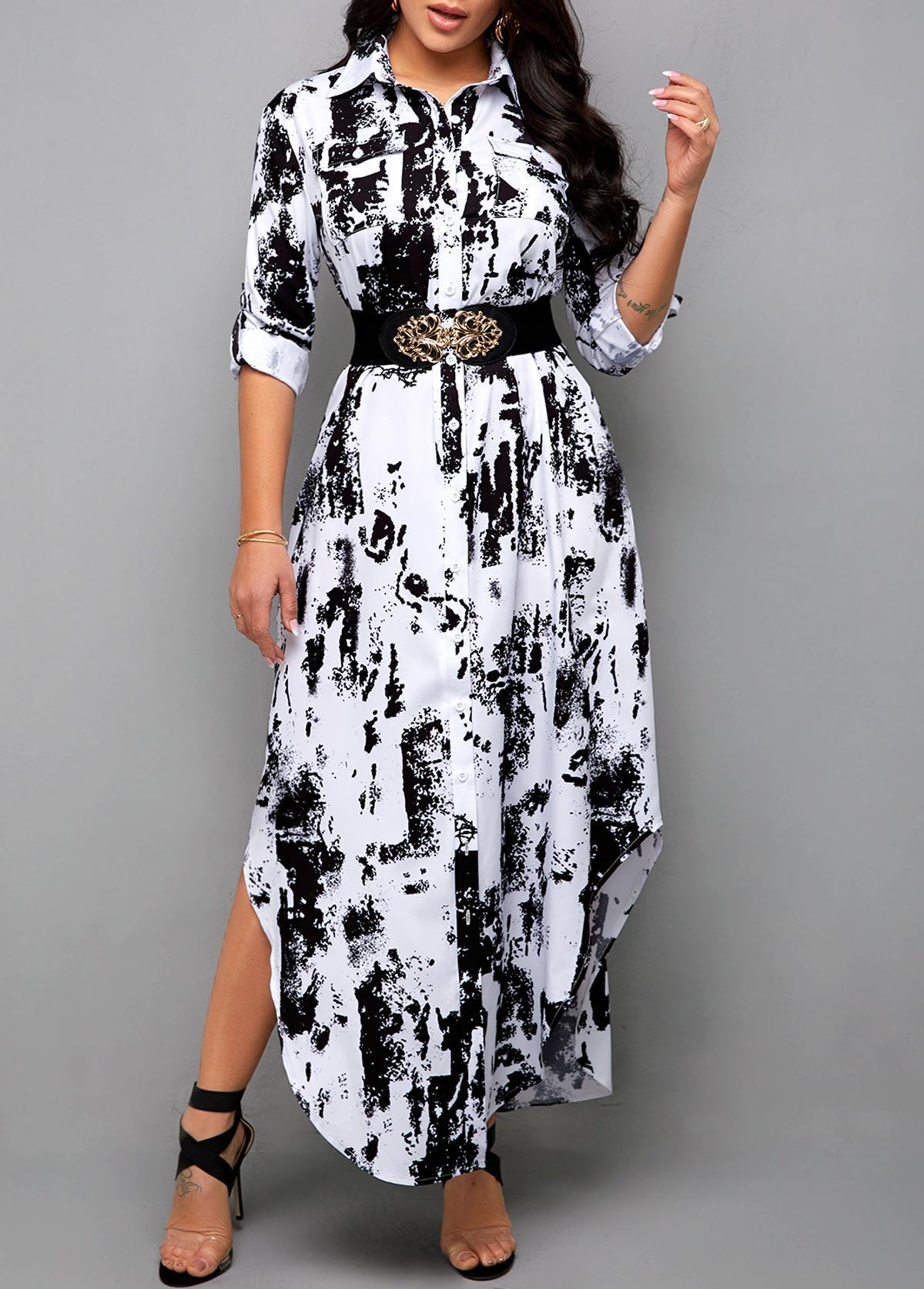 ROTITA Tie Dye Print Asymmetric Hem Shirt Dress