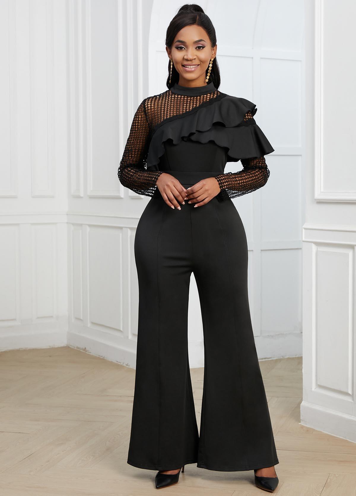 ROTITA Lace Stitching Flounce Black Long Sleeve Jumpsuit