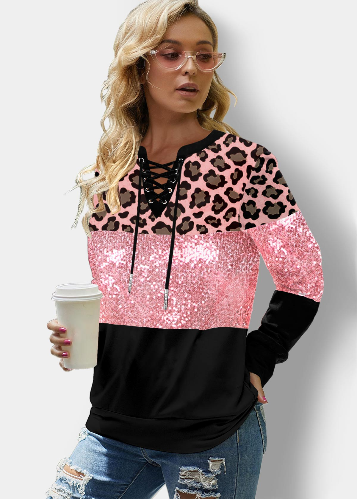 ROTITA Sequin Panel Lace Up Leopard Sweatshirt