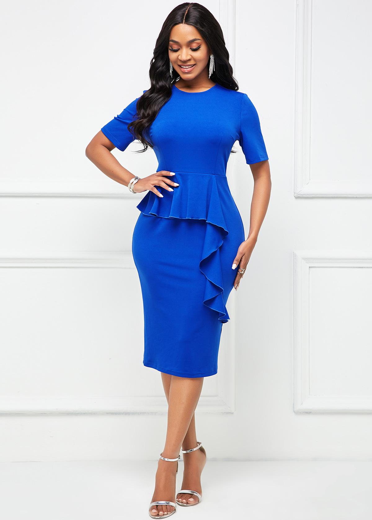 ROTITA Flounce Round Neck Royal Blue Bodycon Dress