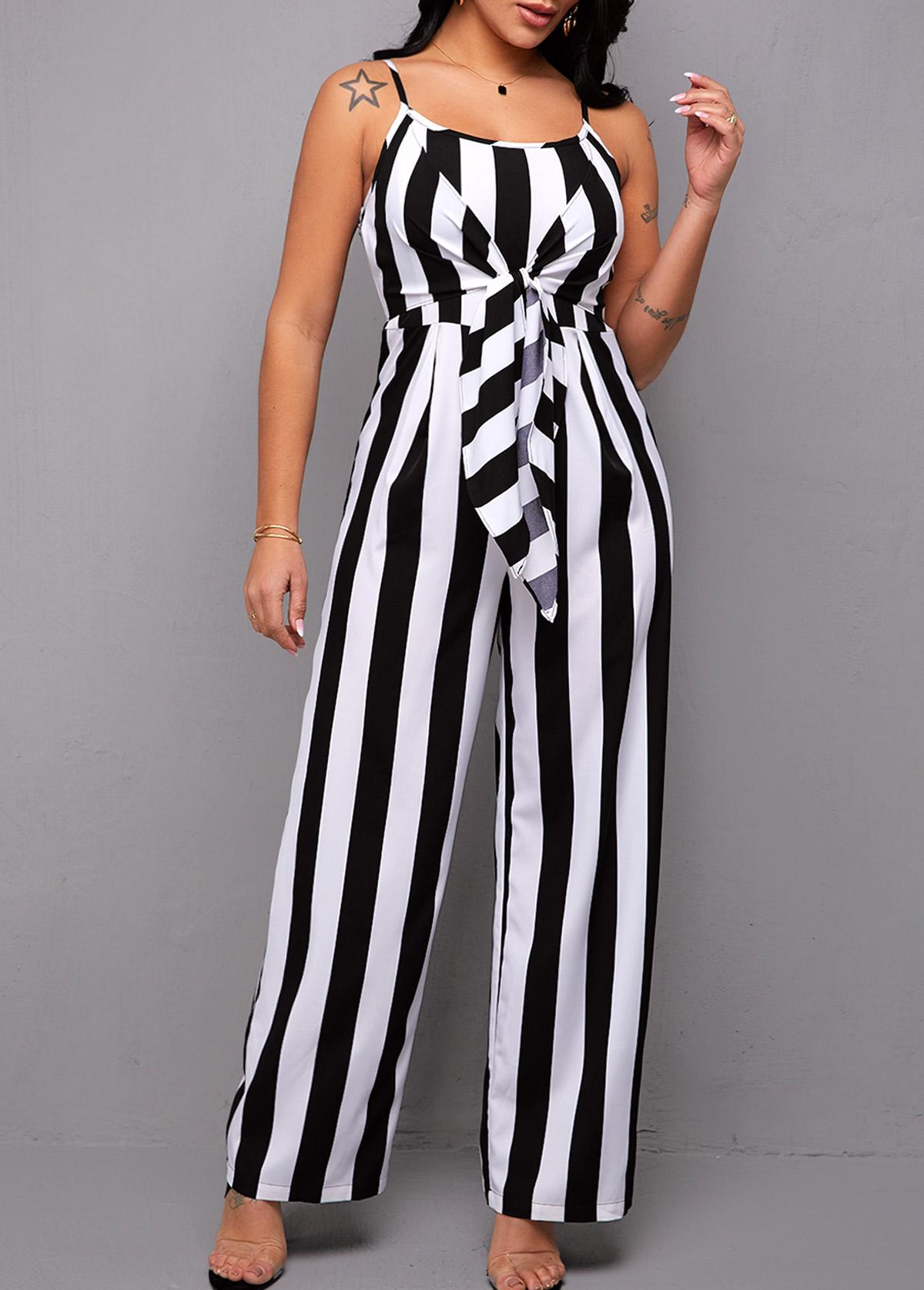 ROTITA Spaghetti Strap Tie Front Striped Jumpsuit
