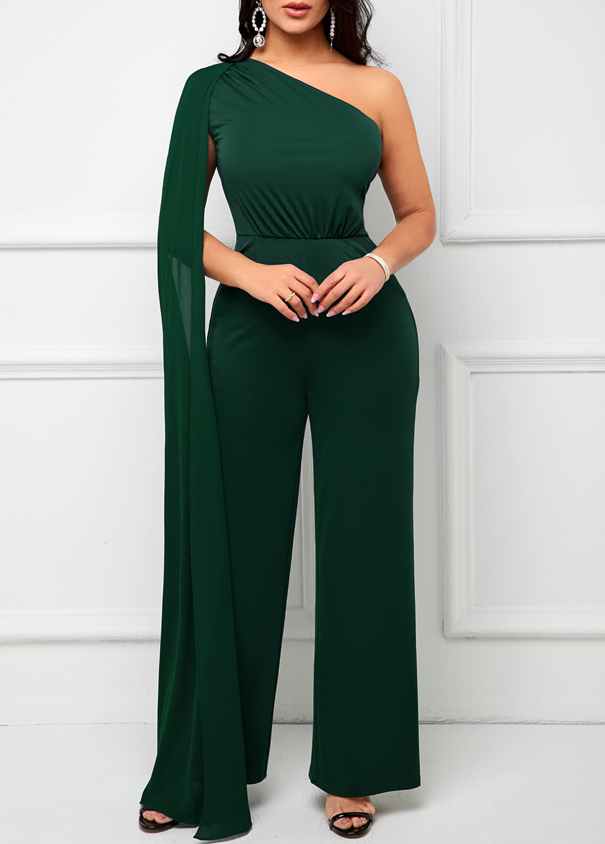 ROTITA Skew Neck One Shoulder Loose Jumpsuit