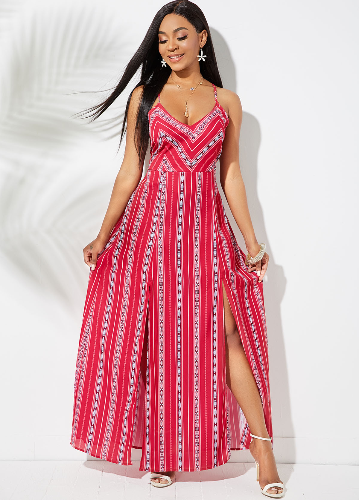ROTITA Side Slit Tie Back Spaghetti Strap Dress