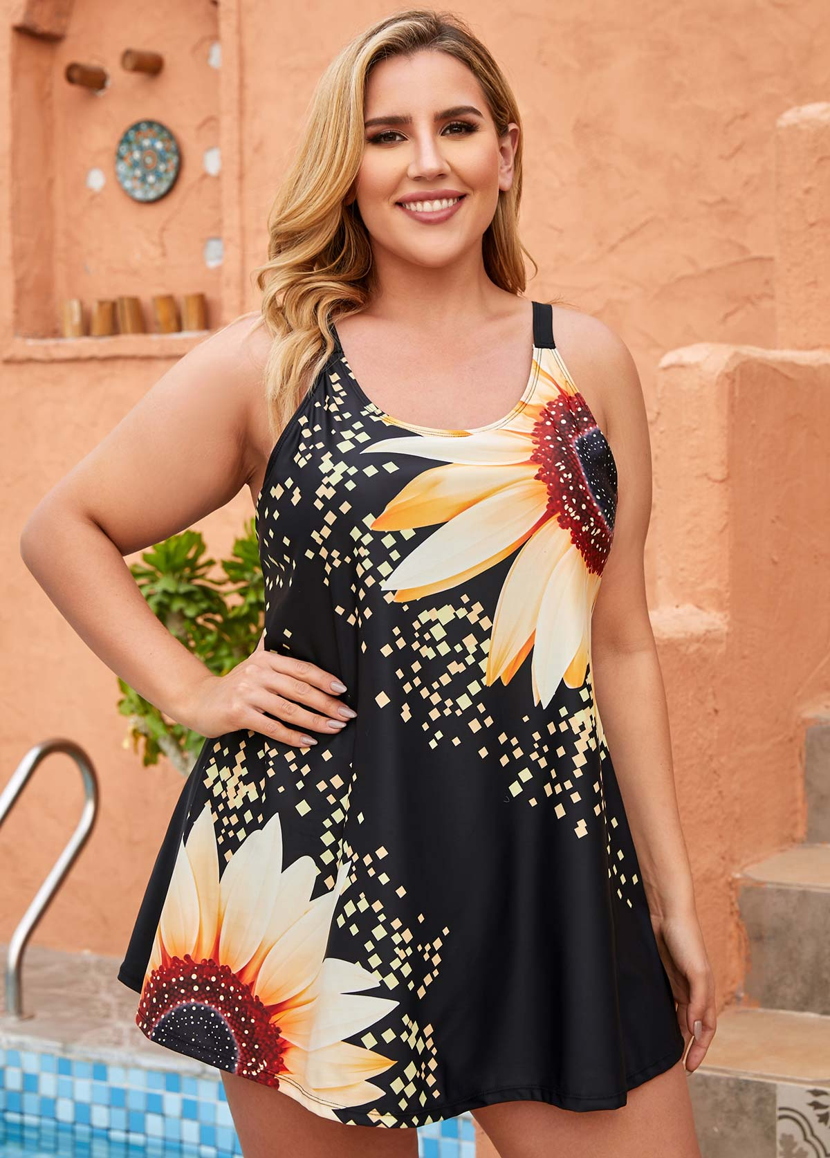 ROTITA Sunflower Print Plus Size Swimdress and Shorts