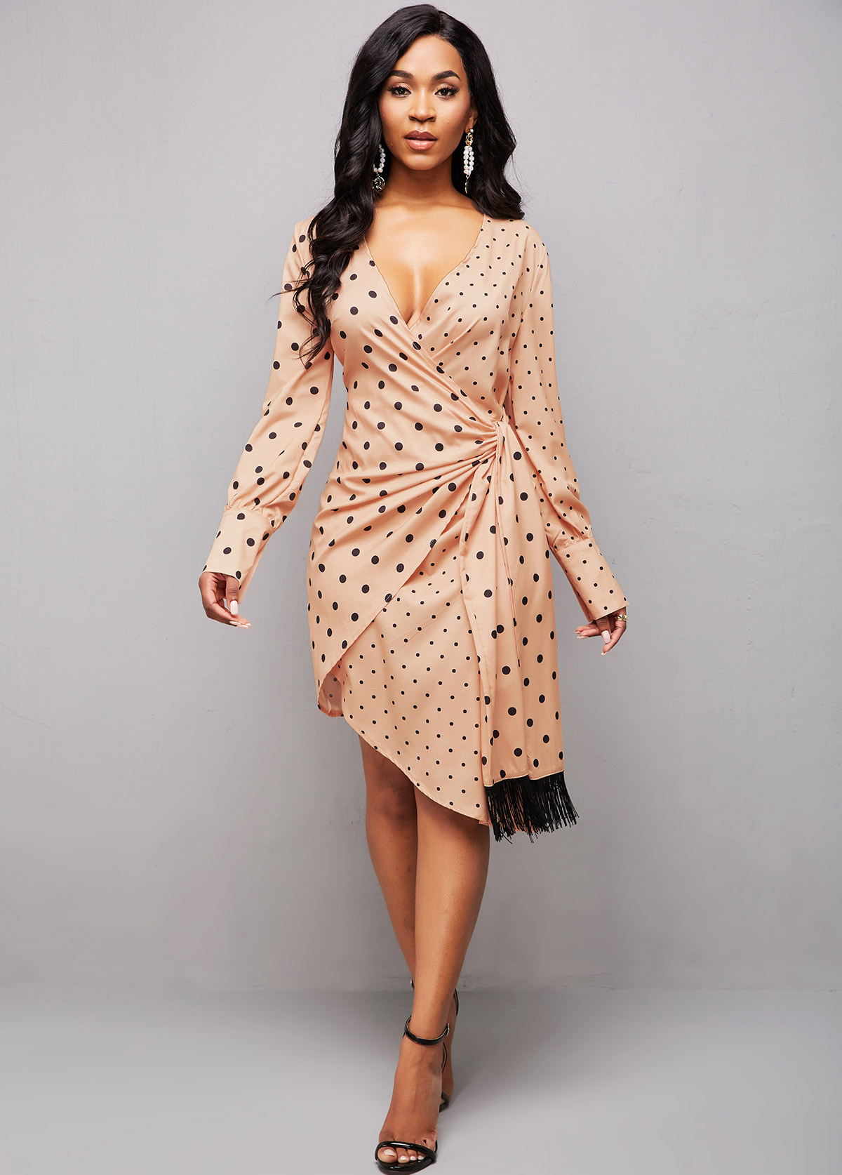 Asymmetric Hem Tie Side Polka Dot Dress