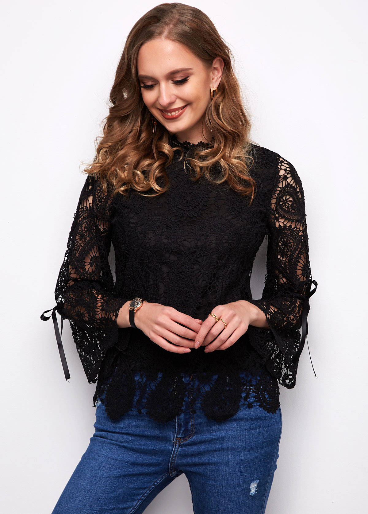 Lace Flare Sleeve Black T Shirt