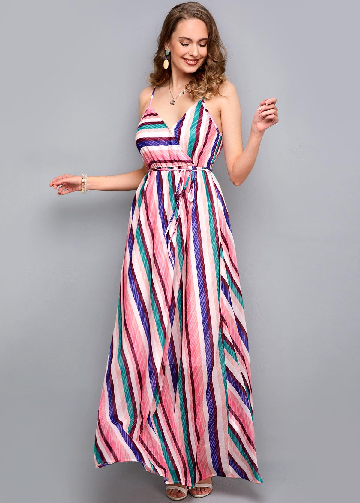 ROTITA Striped Print Drawstring Waist Maxi Dress
