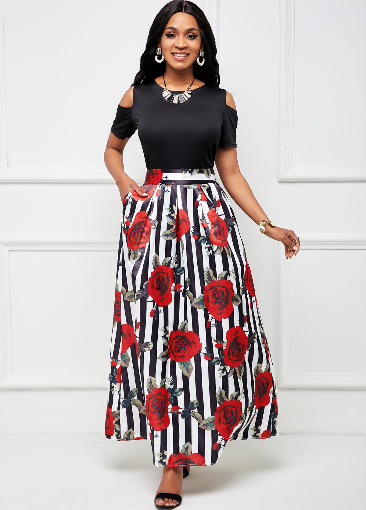 Cold Shoulder Top and Floral Print Pocket Skirt