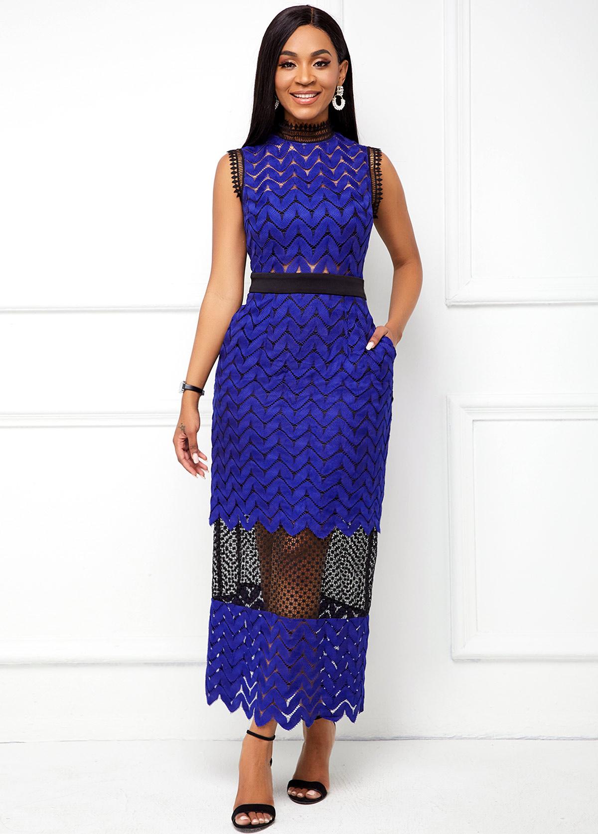 ROTITA Sleeveless Lace Stitching Mock Neck Dress