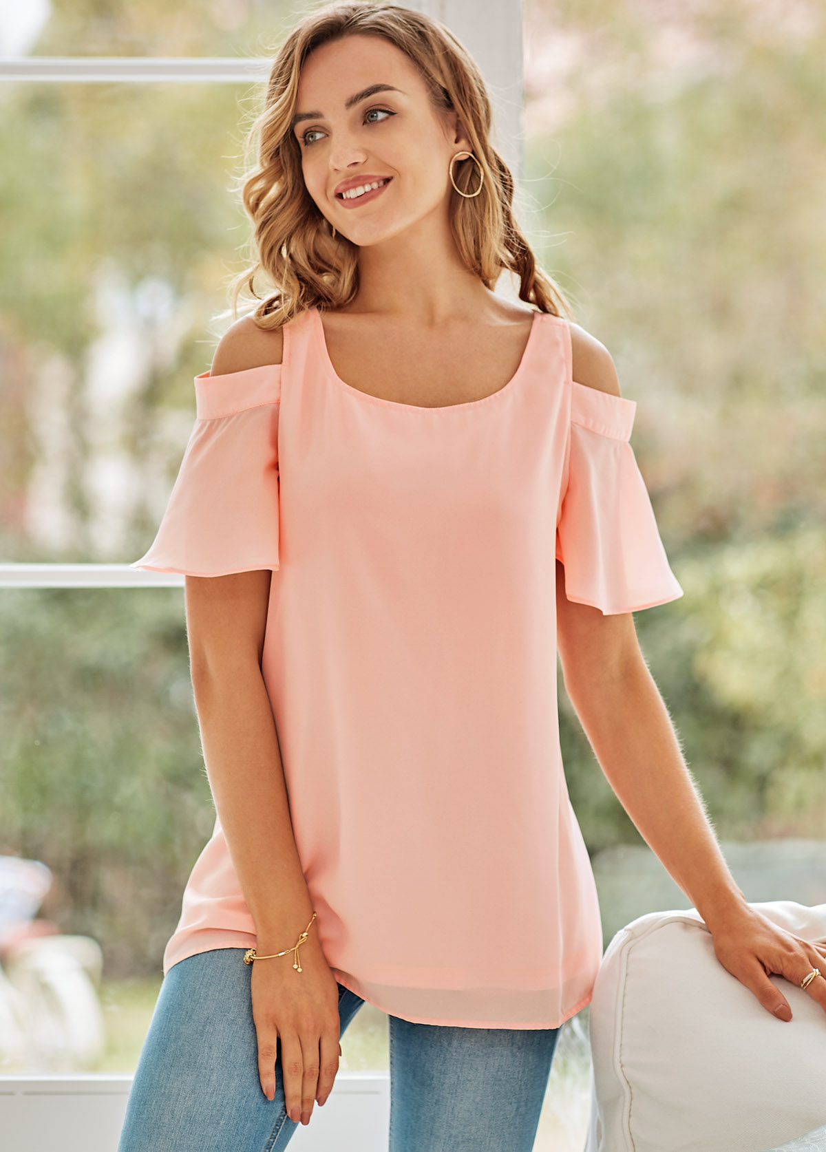 ROTITA Cold Shoulder Short Sleeve Round Neck T Shirt