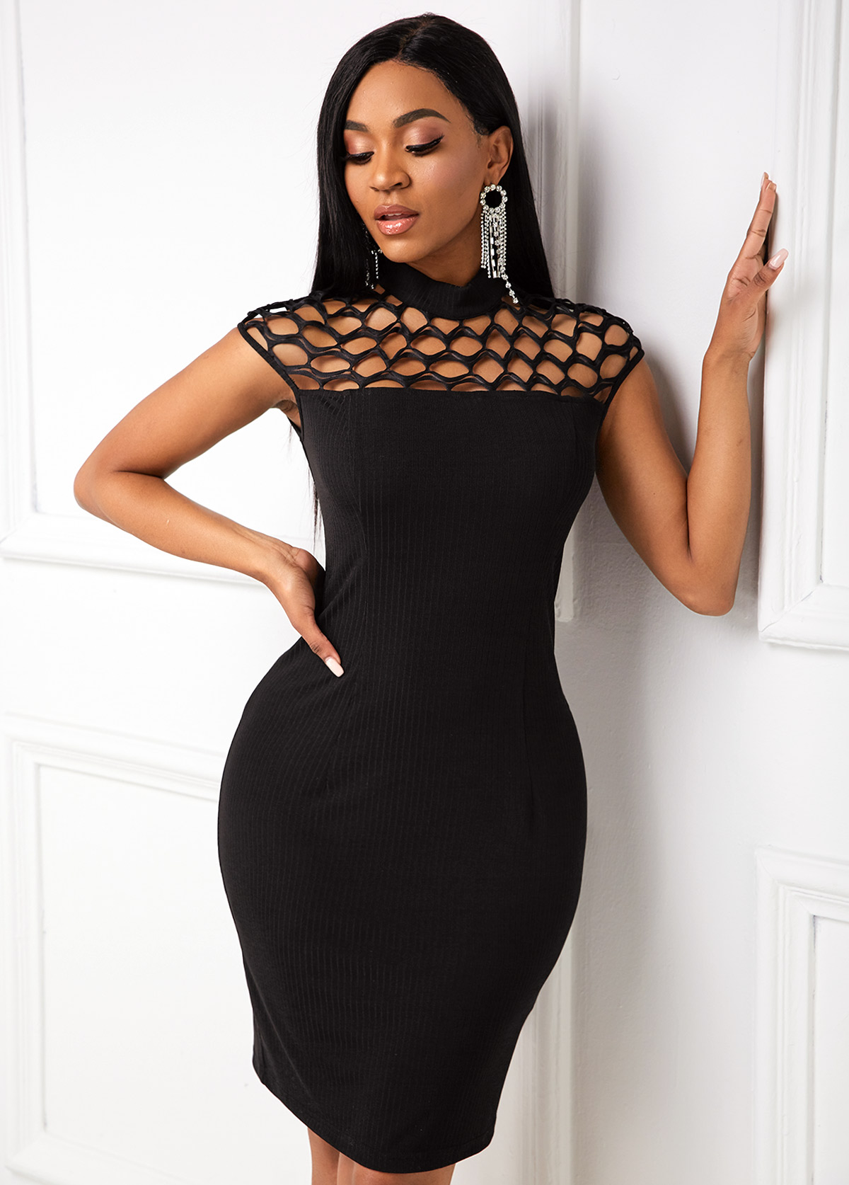 ROTITA Mock Neck Pierced Short Sleeve Dress