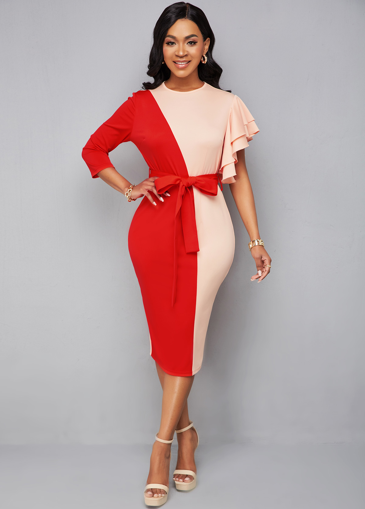 ROTITA Belted Patchwork 3/4 Sleeve Bodycon Dress