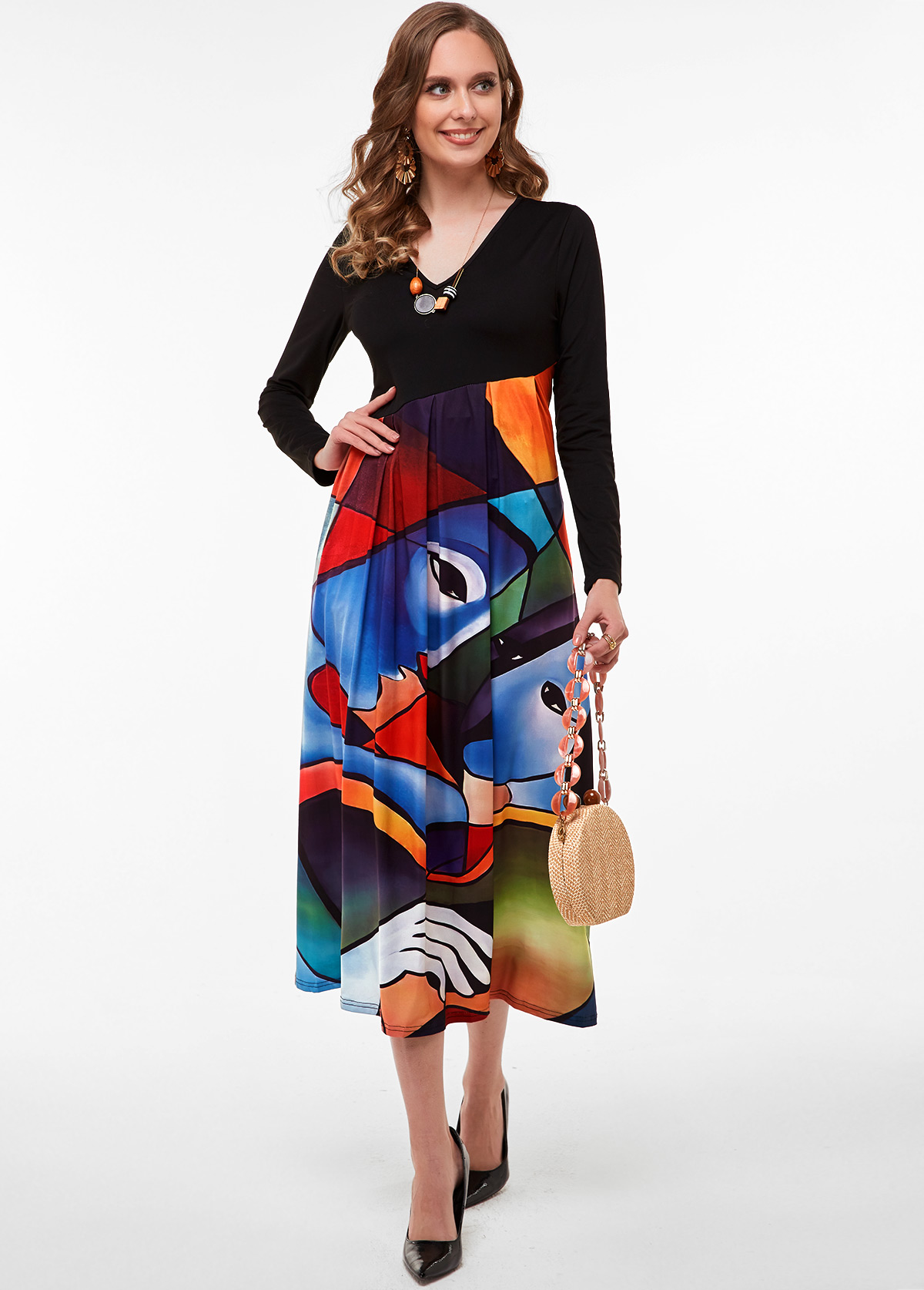 V Neck Long Sleeve Cartoon Print Dress