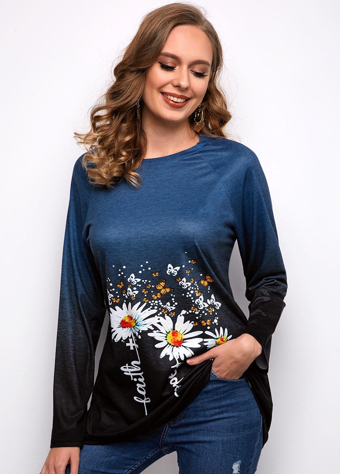 Round Neck Long Sleeve Daisy Print T Shirt
