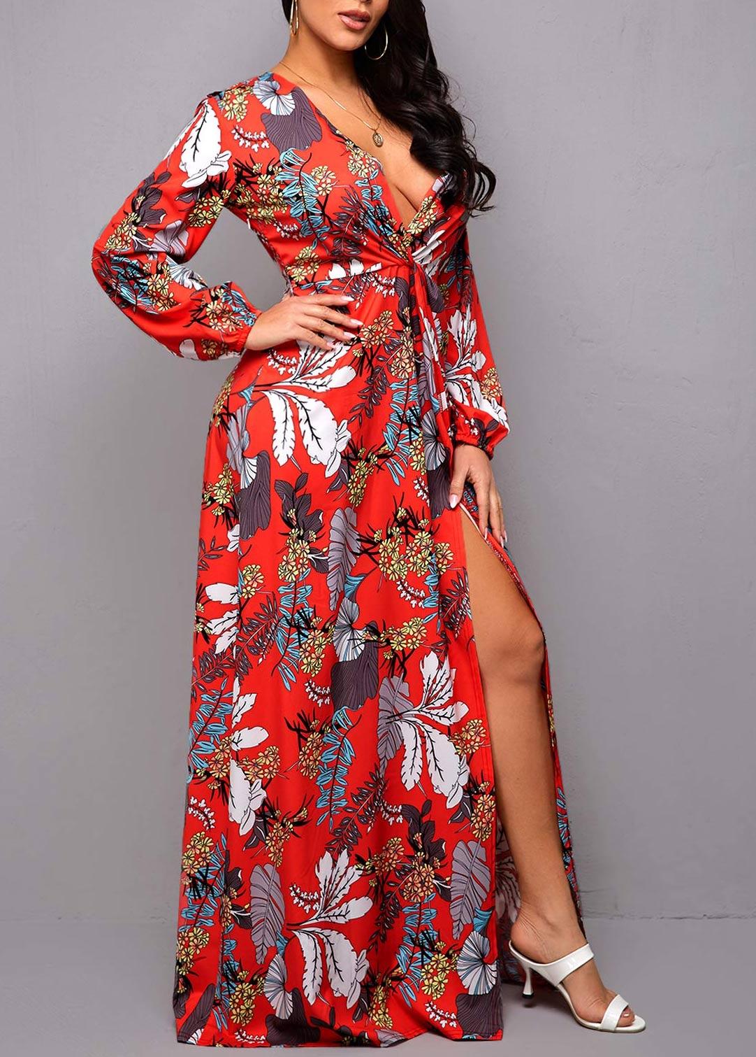 Plunging Neck Side Slit Printed Dress