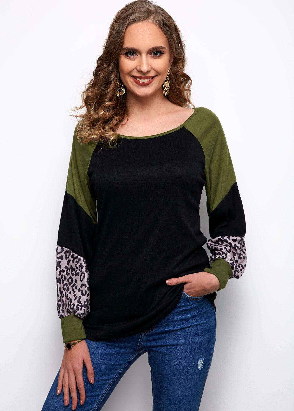Round Neck Long Sleeve Contrast Leopard T Shirt