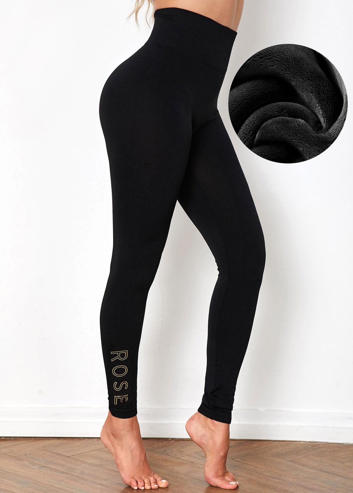 Super Elastic High Waist Sequin Letter Legging Pants
