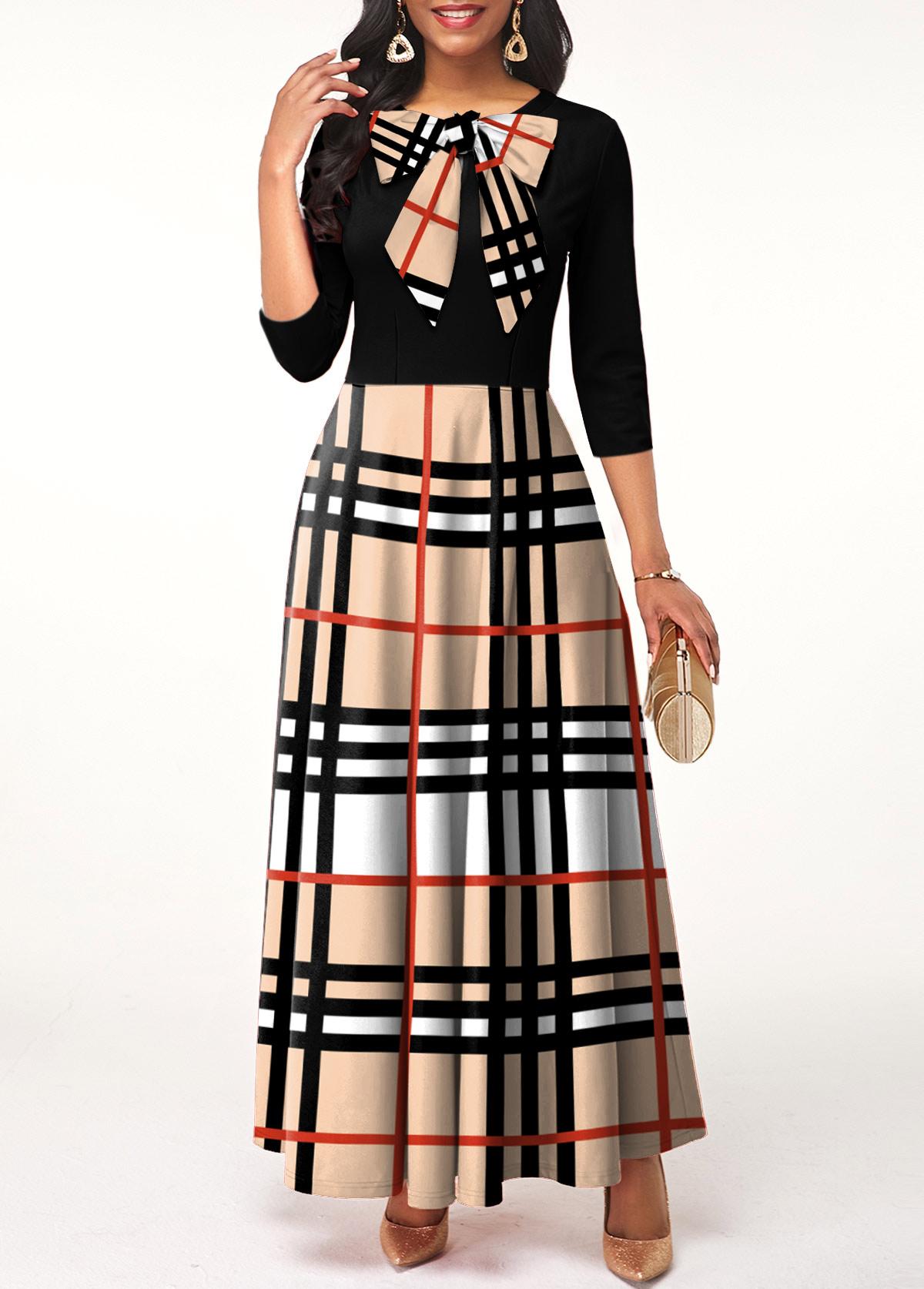 ROTITA Bowknot Long Sleeve Plaid Maxi Dress
