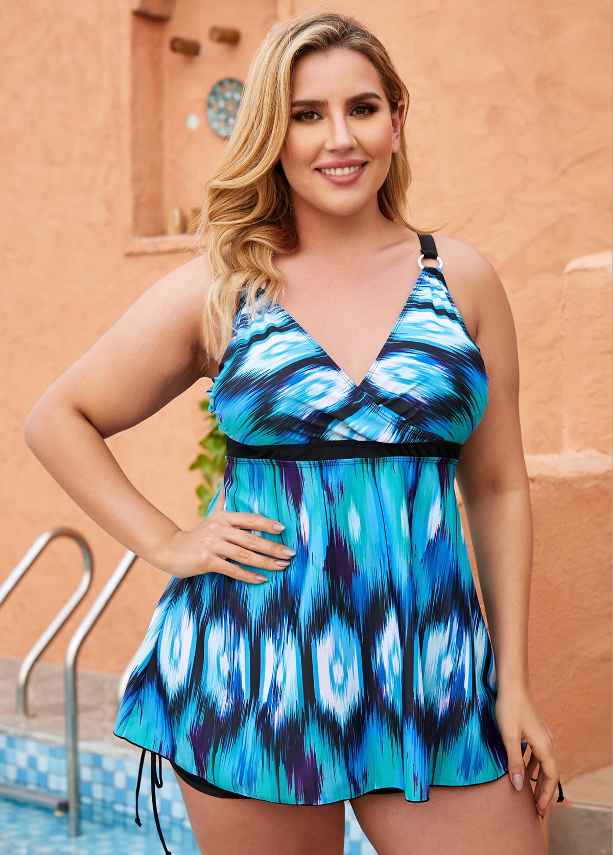 ROTITA Tie Dye Print Plus Size Swimdress and Shorts