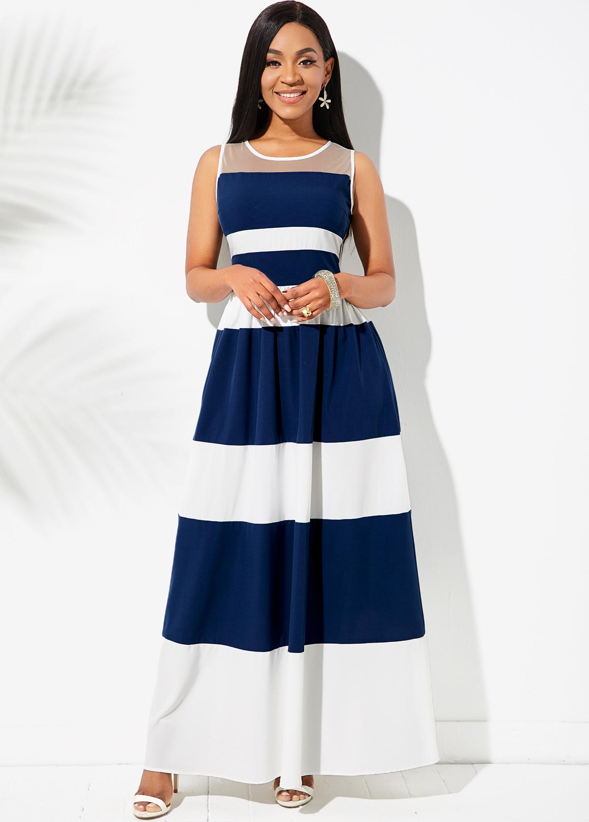 ROTITA Mesh Stitching Color Block Striped Dress