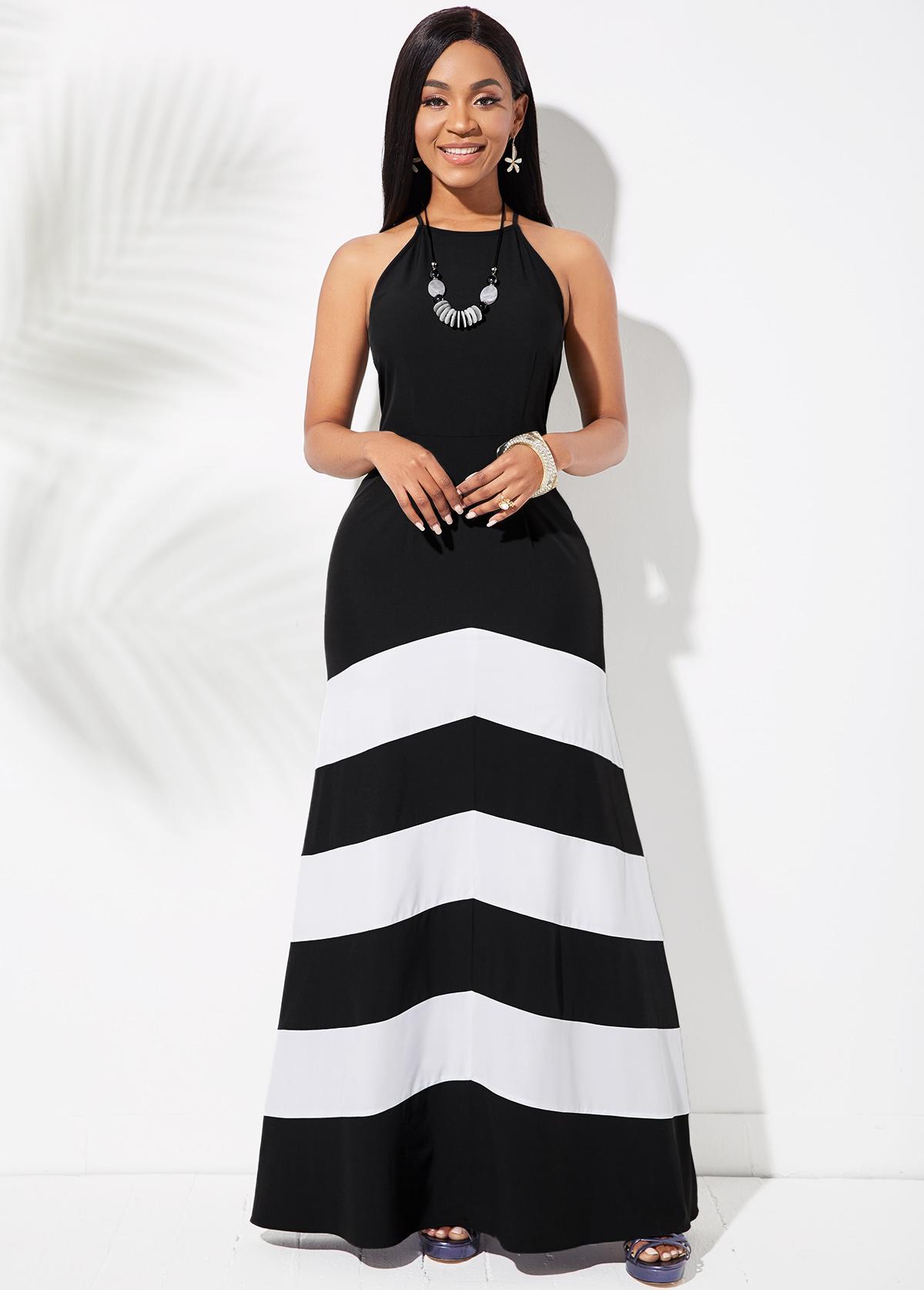 ROTITA Criss Cross Back Striped Sleeveless Dress
