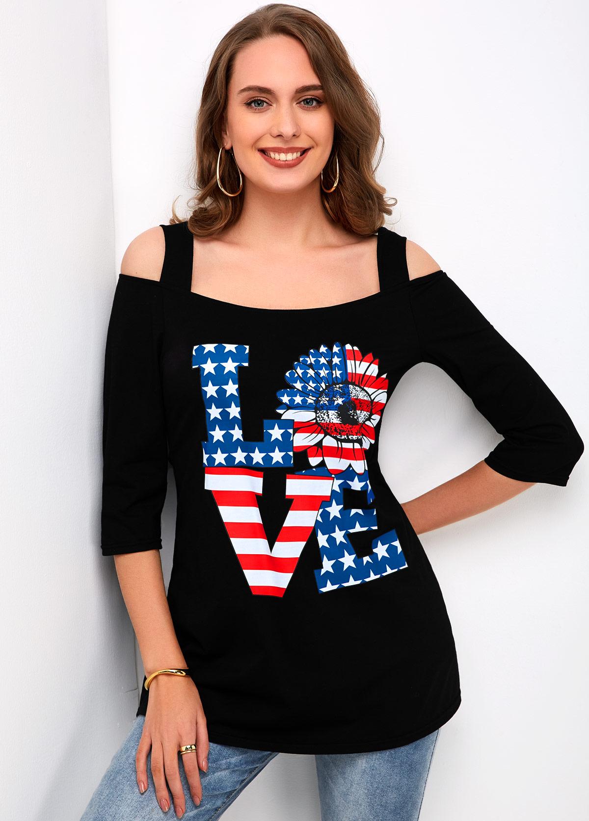 ROTITA Cold Shoulder American Flag Print T Shirt