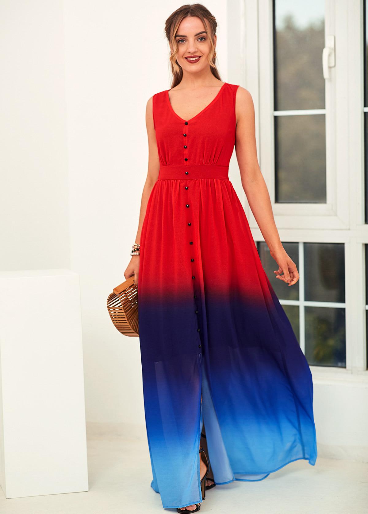ROTITA Sleeveless Ombre V Neck High Waist Dress
