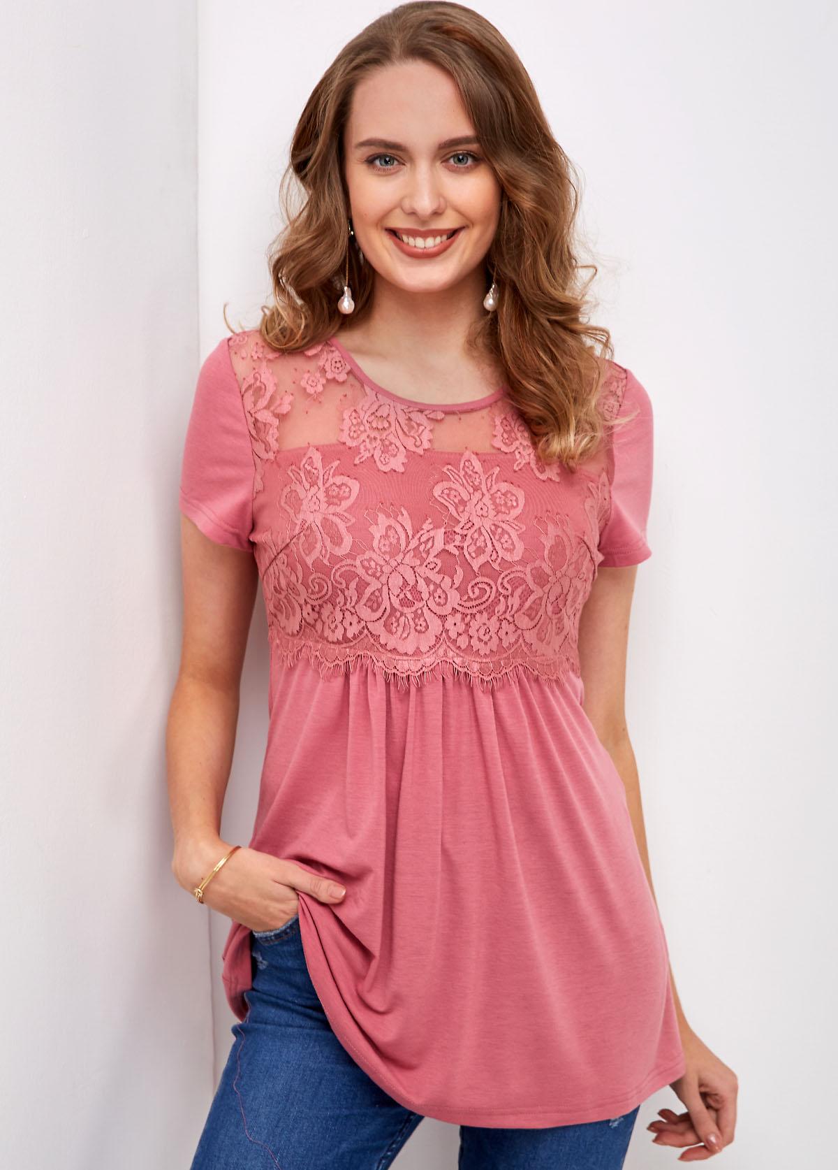 ROTITA Lace Stitching Short Sleeve Round Neck T Shirt