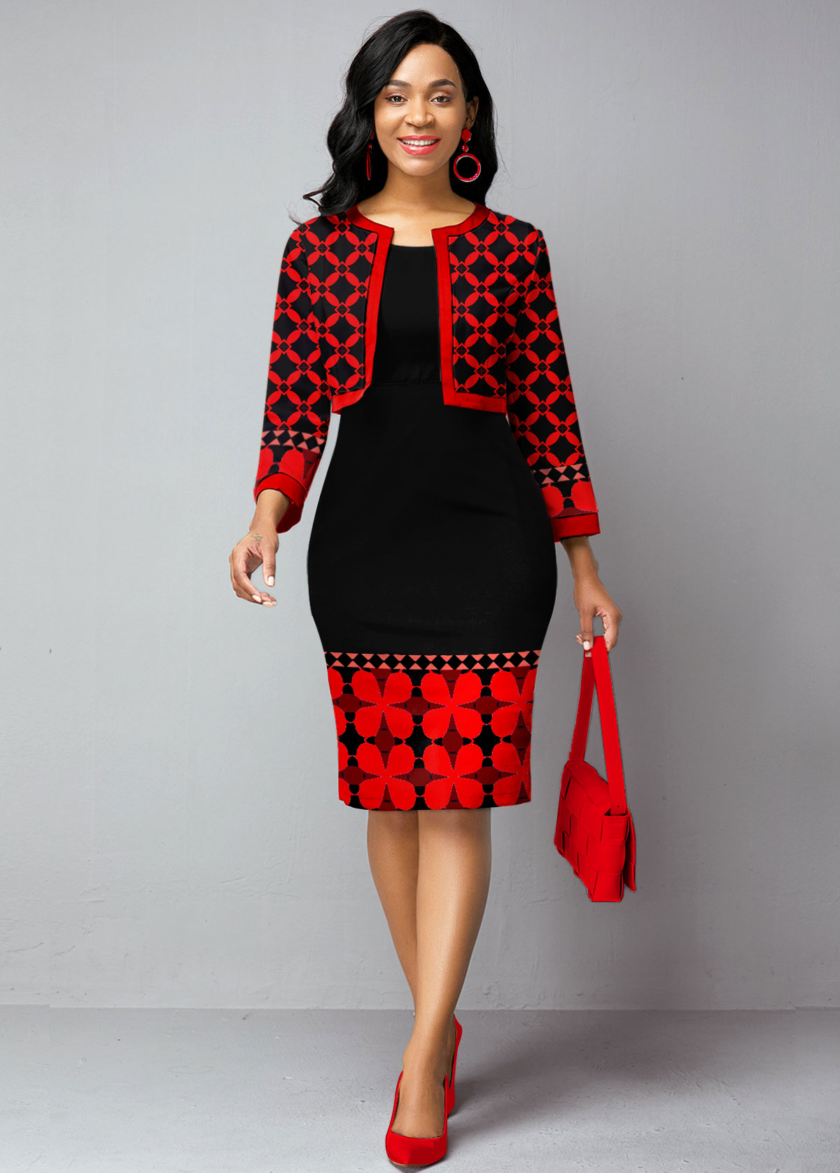 ROTITA Plus Size Open Front Cardigan and Tribal Print Dress