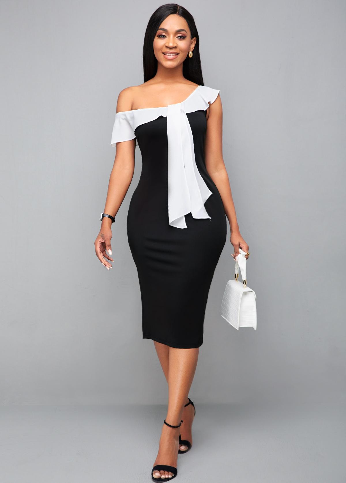 ROTITA Color Block Ruffle Hem Bodycon Dress