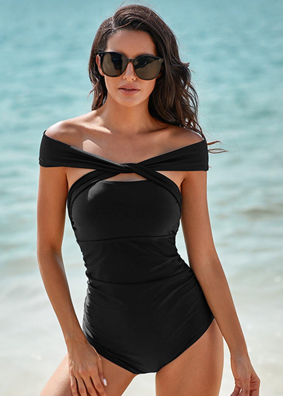 Cross Front Off Shoulder One Piece Swimwear
