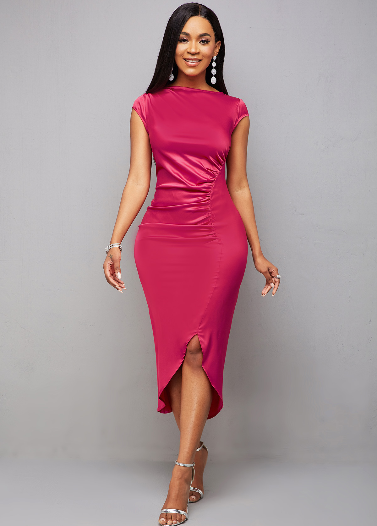 ROTITA Asymmetric Hem Cap Sleeve Ruched Bodycon Dress