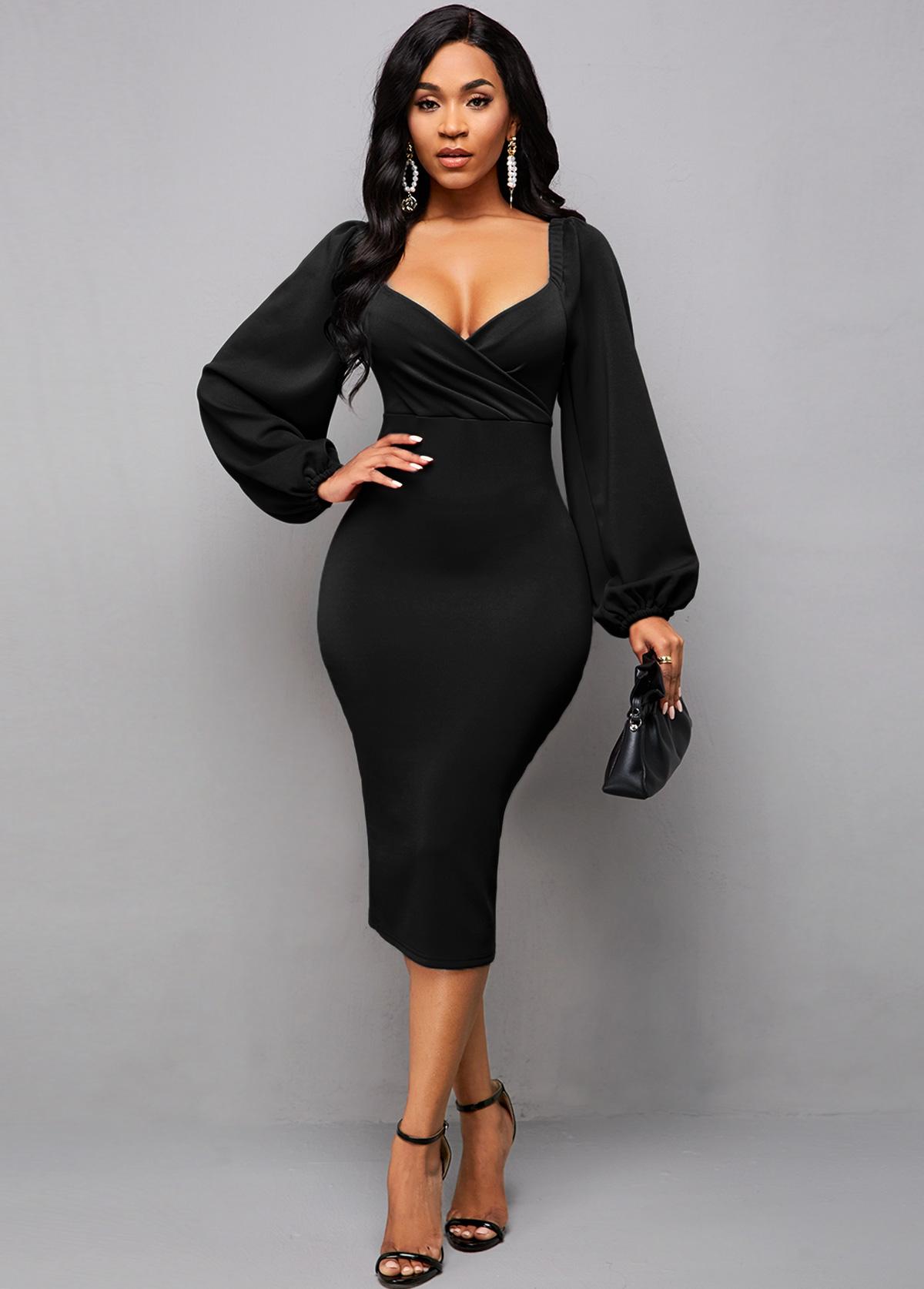 Lantern Sleeve Back Slit Black Bodycon Dress