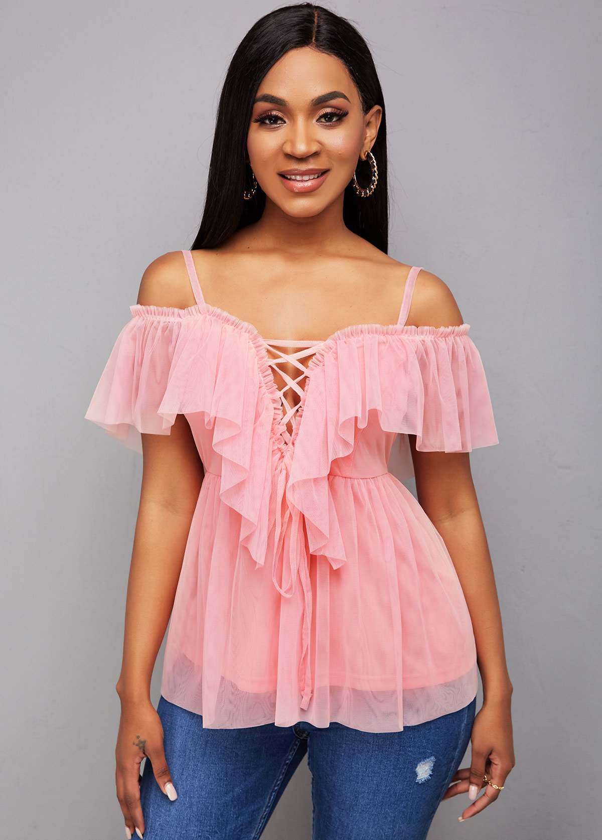 ROTITA Lace Up Strappy Cold Shoulder Blouse