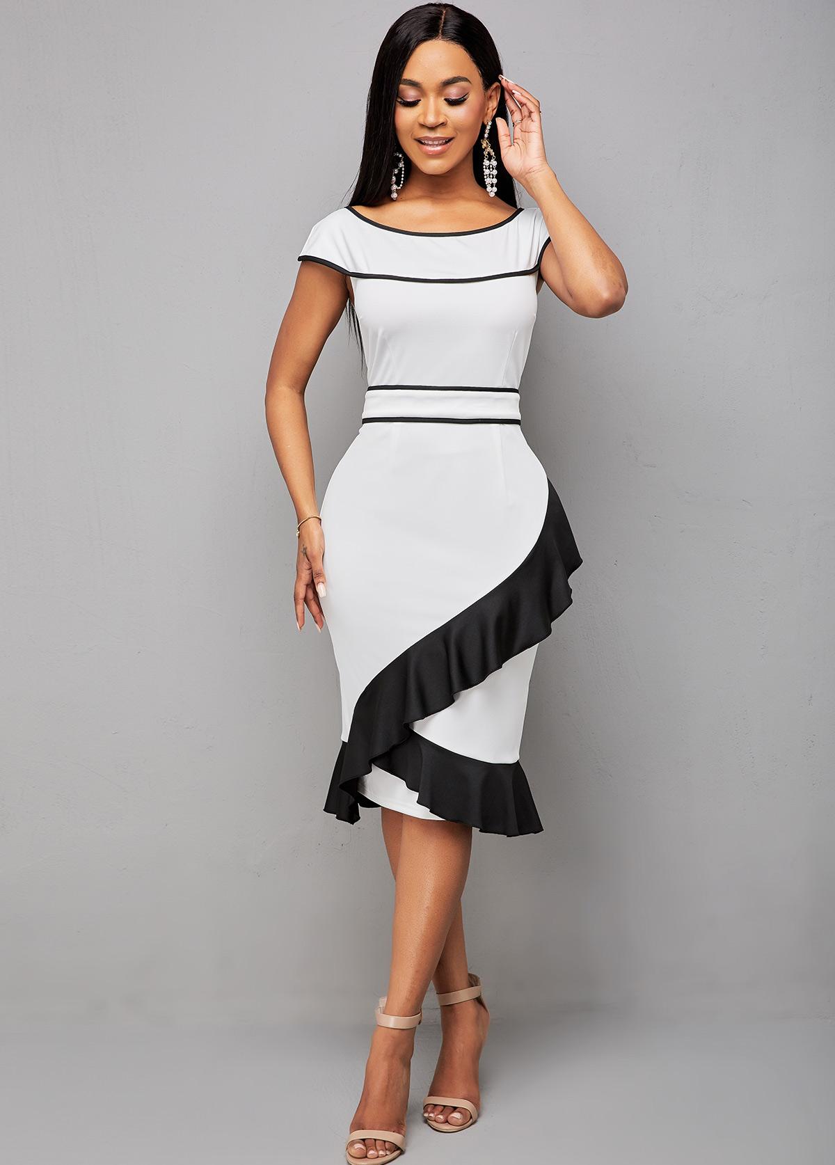 ROTITA Round Neck Color Block Ruffle Hem Dress
