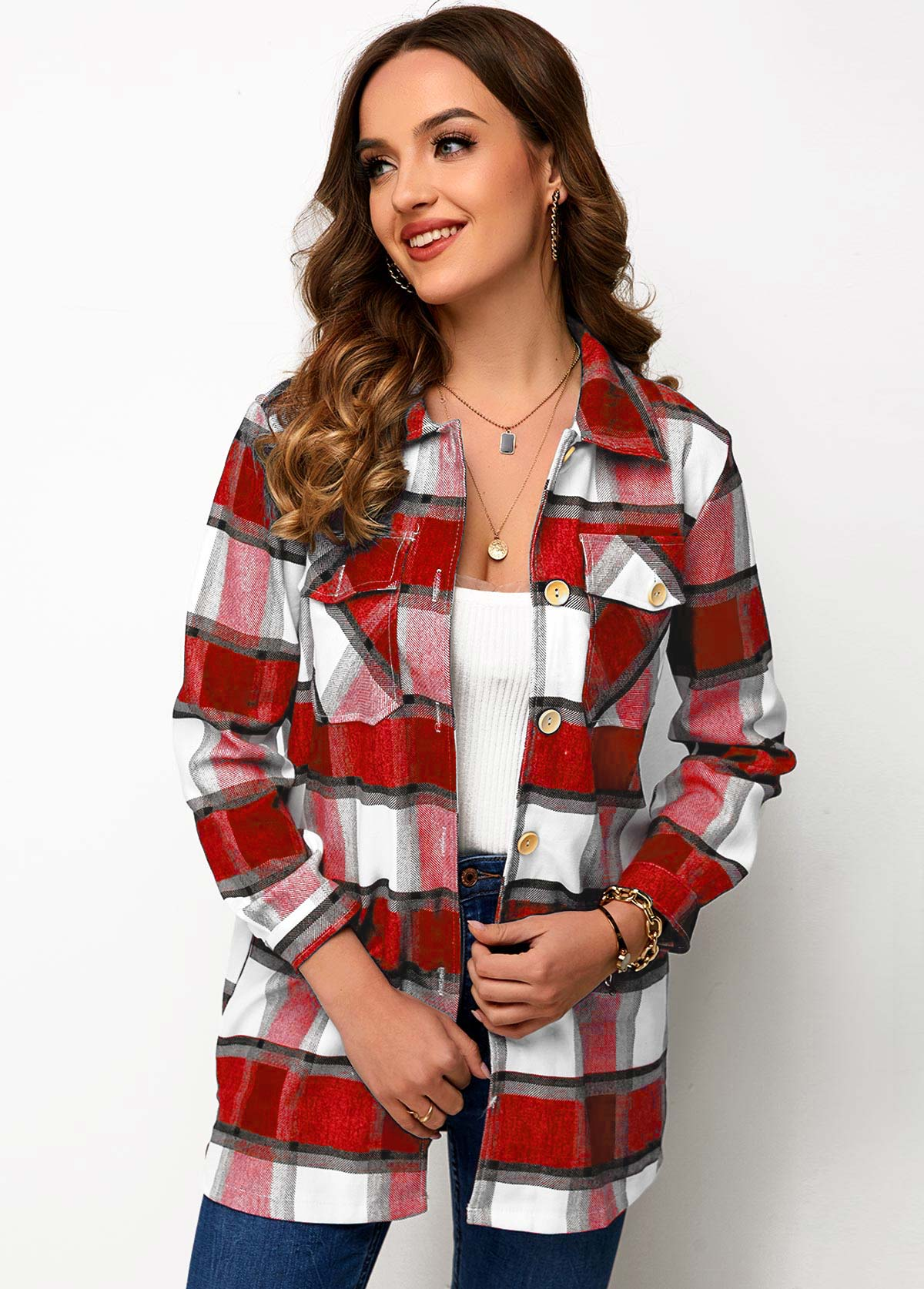 Chest Pocket Button Up Plaid Shirt