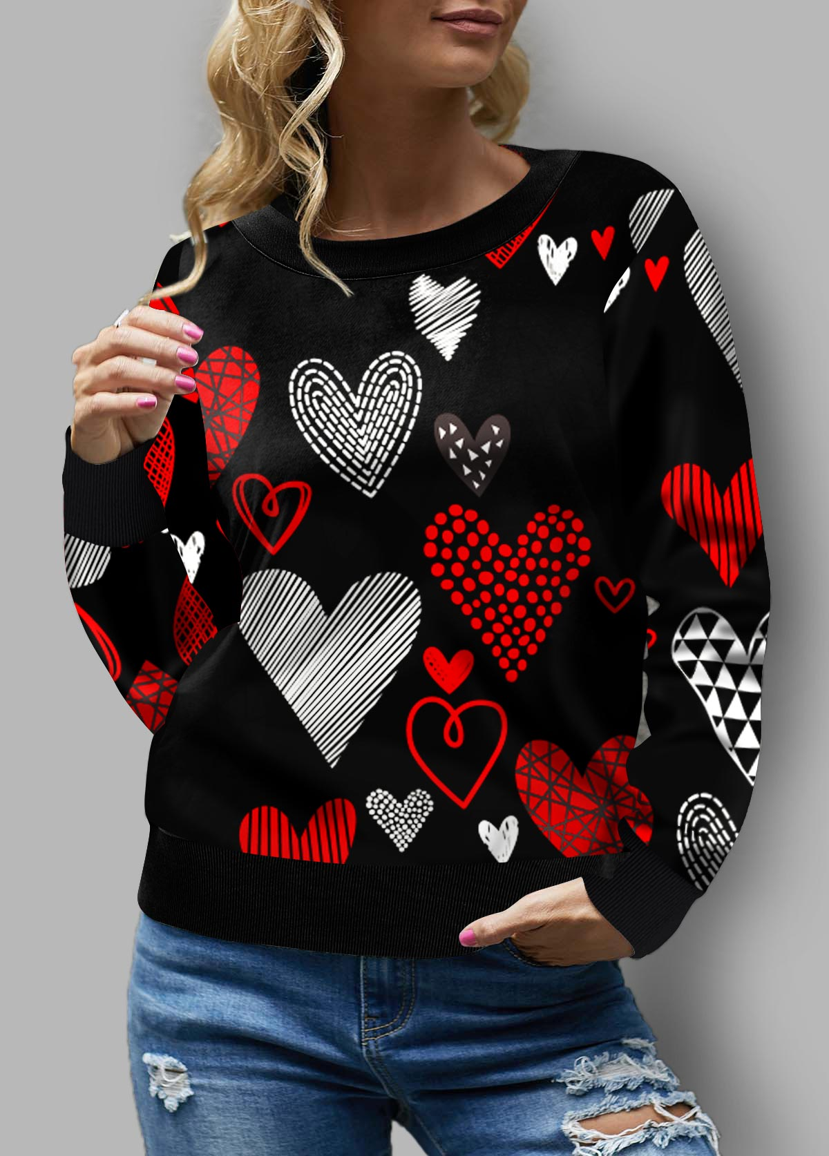 ROTITA Heart Print Plus Size Long Sleeve Sweatshirt
