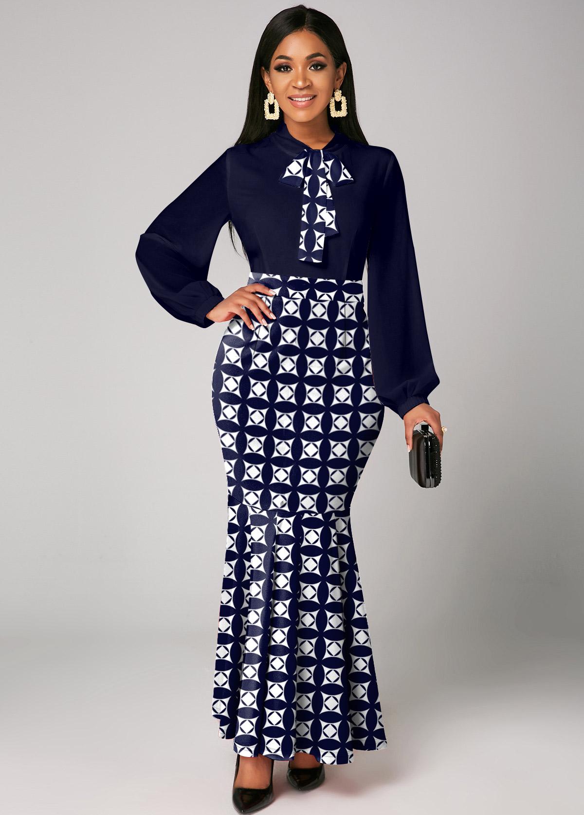 ROTITA Geometric Print Bow Collar Mermaid Dress