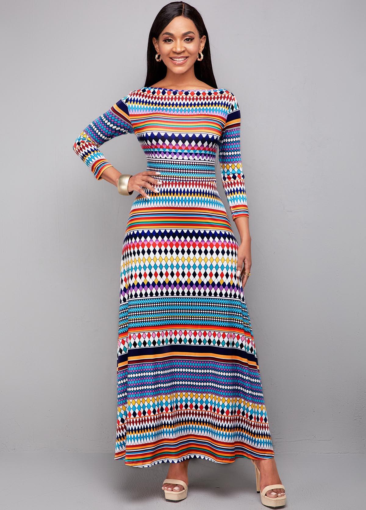 Long Sleeve Bohemian Print High Waist Dress