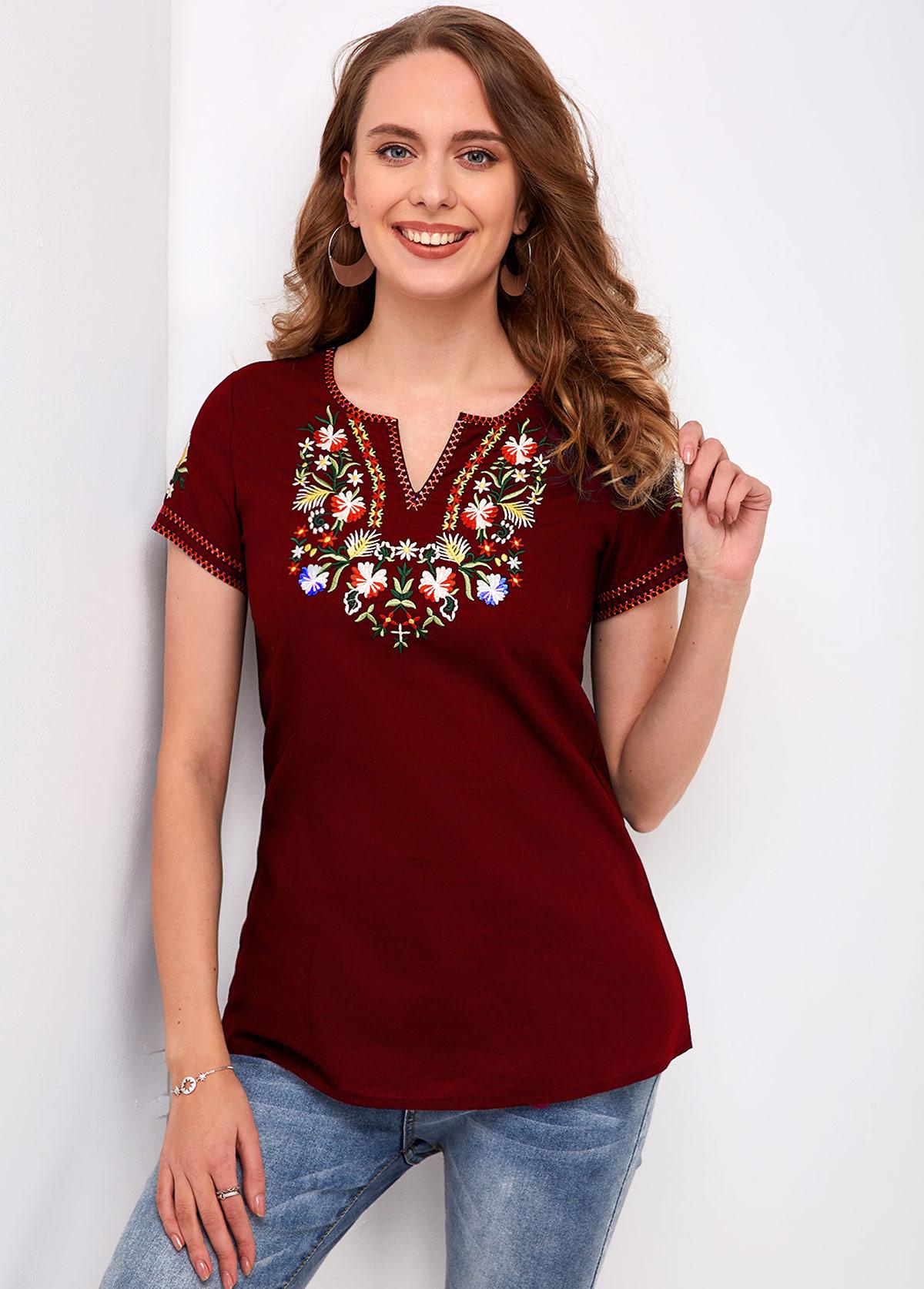 Split Neck Short Sleeve Embroidered T Shirt