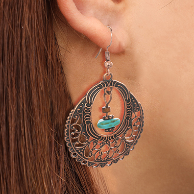 Turquoise Pendant Metal Oval Shape Earring Set