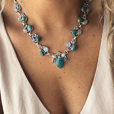 Turquoise Metal Boho Flower Necklace