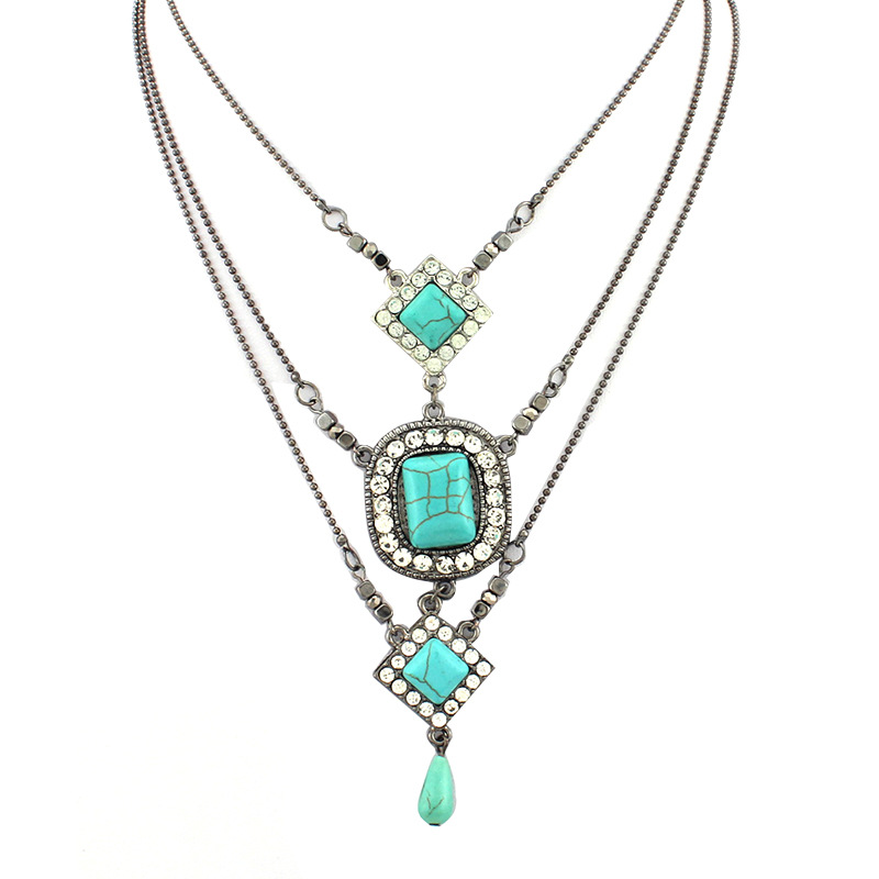 Square Turquoise Pendant Water Drop Layered Tribal Necklace